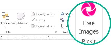 När du har installerat tillägget Pickit Free Image visas det längst till höger på fliken Start i menyfliksområdet.
