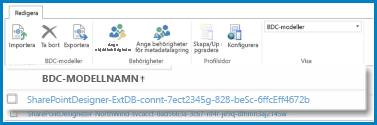 En bild på vyns BDC-modeller menyfliksområde i SharePoint Onlines BCS.