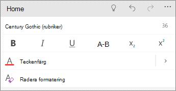 Formatera textalternativ i PowerPoint för Windows-telefoner.