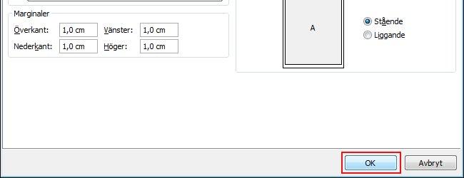 Klicka på OK om du vill använda storlekarna för de ändrade marginalerna.