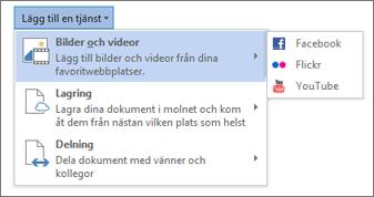 Lägg till en tjänst som Flickr eller Facebook för Office