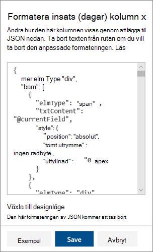 Det avancerade lägets JSON-fönster för kolumn format för SharePoint
