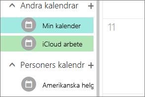 iCloud kalendern visas under andra kalendrar i Outlook för webben