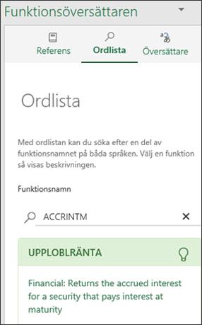 Fönstret Ordlista för Functions Translator