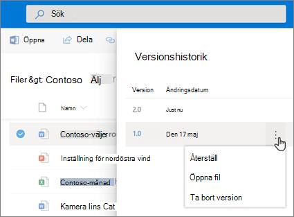 Skärmbild på återställning av filer i OneDrive för företag från versionshistoriken i Informationsfönstret med modernt utseende.