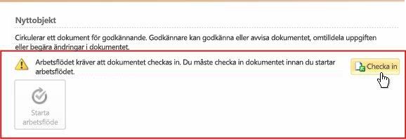 Meddelande om att checka in objektet, där knappen Checka in är markerad