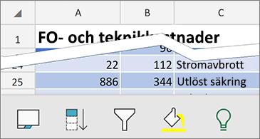 Kalkylblad med tillgängliga sammanhangsberoende kommandon längst ned på skärmen
