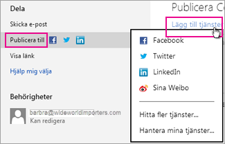 Publicera presentationen på ett socialt nätverk