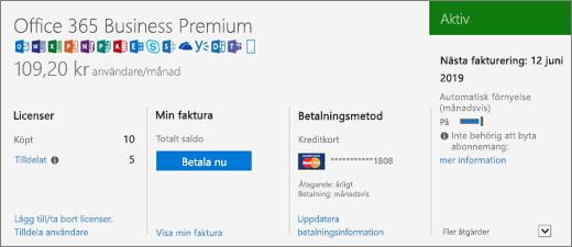 Prenumerationssidan som visar vilken prenumeration du har samt dess status.