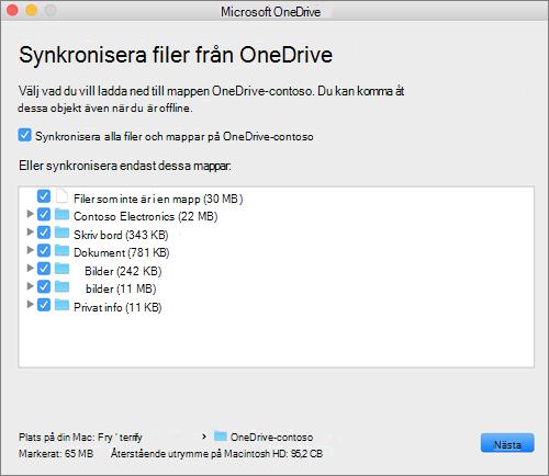 Skärm bild av OneDrive-installationsprogrammet för att välja vilka mappar eller filer som ska synkroniseras.