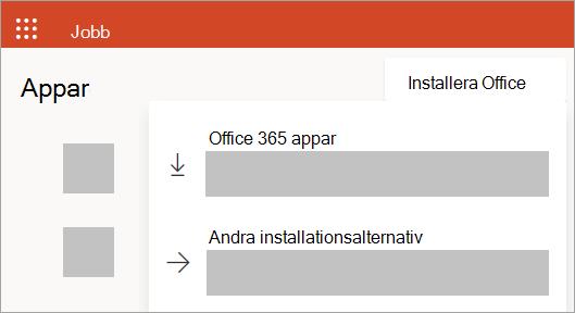 Skärmbild av Office.com vid inloggning med ett arbets- eller skolkonto