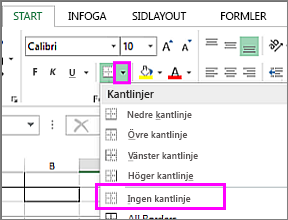 Alternativet Ta bort kantlinje