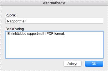 Lägga till alternativtext till inbäddade filer i OneNote för Mac