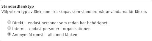 Dialogruta för standardlänktyp
