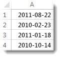 Osorterade datum i ett kalkylblad