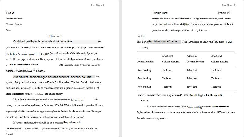 Skärmbild av omslag till en MLA-pappersmall