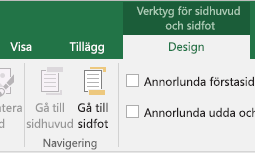 Nyheter i verktygsfältet Design i Excel