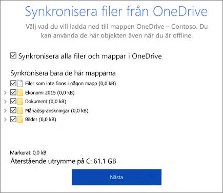 Skärmbild av dialogrutan Synkronisera filer från OneDrive