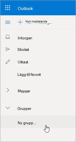 Ny gruppplats i Outlook.com mapplista