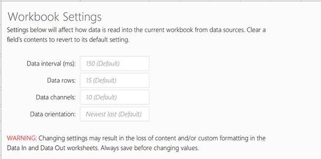 Visa fliken arbetsboksinställningar för Data-ström