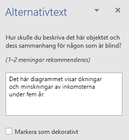 Fönstret Alternativtext för diagram i Word Win32