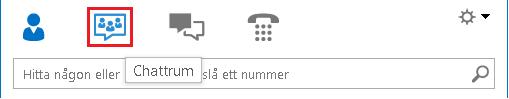 Skärmbild av ikonerna i huvudfönstret i Lync med markerad chattrumsikon