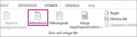 Kopplingsinstruktion för att infoga adressblock