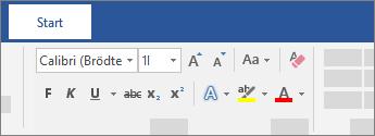 Textformateringsalternativ i menyfliksområdet i Word