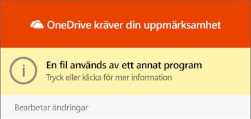 """Dialog rutan """"filen används"""" i """"OneDrive"""""""