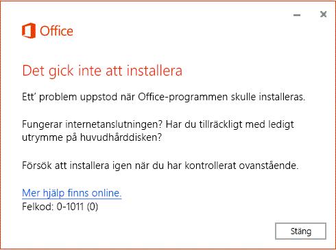 Meddelandet Det gick inte att installera