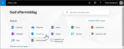 Startsida för Office 365 med SharePoint markerat
