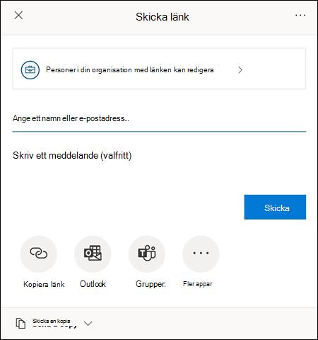 Med dialogrutan Dela kan du bjuda in andra att komma åt filen.