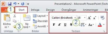 Ett exempel på menyfliksområdet i PowerPoint. Element.
