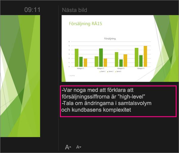 Visar anteckningar i föredragshållarvyn i PowerPoint 2016 för Mac