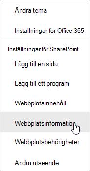Länk till SharePoint-webbplats information