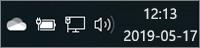 Vit OneDrive-ikon i systemfältet