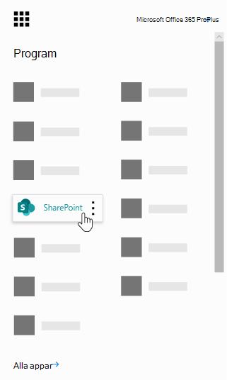 Office 365-startprogrammet med appen SharePoint markerat