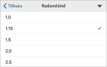 Kommandot Radavstånd som visar formateringsalternativ med 1,15 markerat