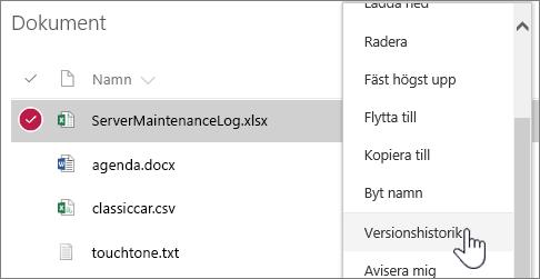 Snabbmenyn för dokumentbibliotek med versionshistorik markerad