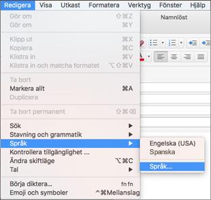 Menyn Redigera > Språk i Outlook 2016 för Mac