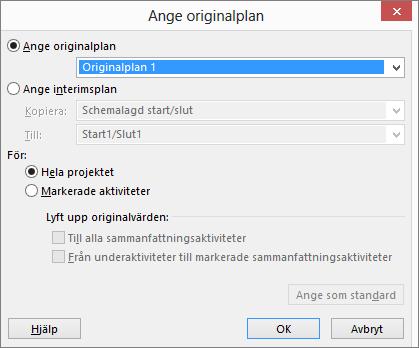 Skärmbild av dialogrutan Ange originalplan