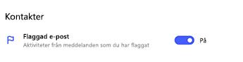 Flaggad e-postanslutning aktiverad i Att göra-inställningar