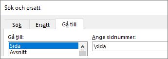 Skriv \sida i rutan Ange sidnummer