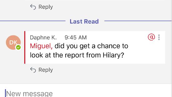 Denna skärmbild visar ett nytt meddelande till en person som @nämns i en konversation.