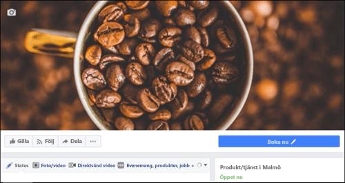 Skärmbild: Microsoft Bookings när det kopplats till Facebook-sida.