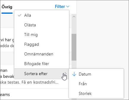 Filtrera e-post i Outlook på webben