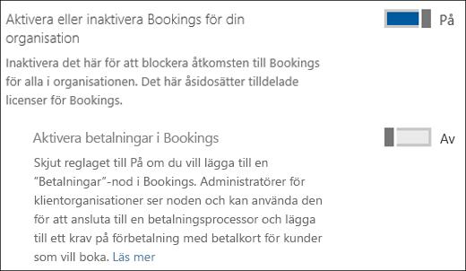 Skärmdump: Visa Bookings-administrationskontrollen på sidan Tjänster och tillägg