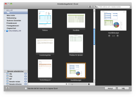 Galleri med Excel-arbetsböcker
