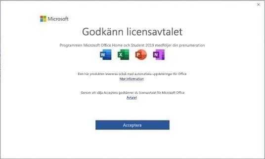 Licensavtal för Microsoft Office 2019.