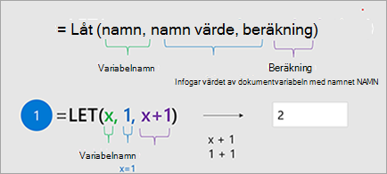 Visar funktionen LET i Excel